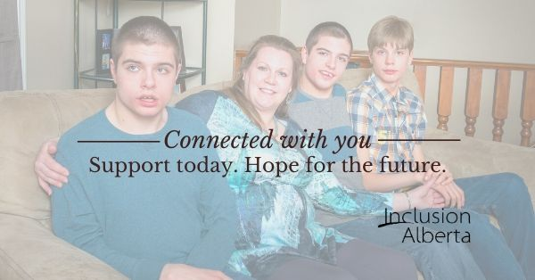 A mother sits in the middle of three sons, two of them twins. Text reads: Connected with you Support for today. Hope for the future.