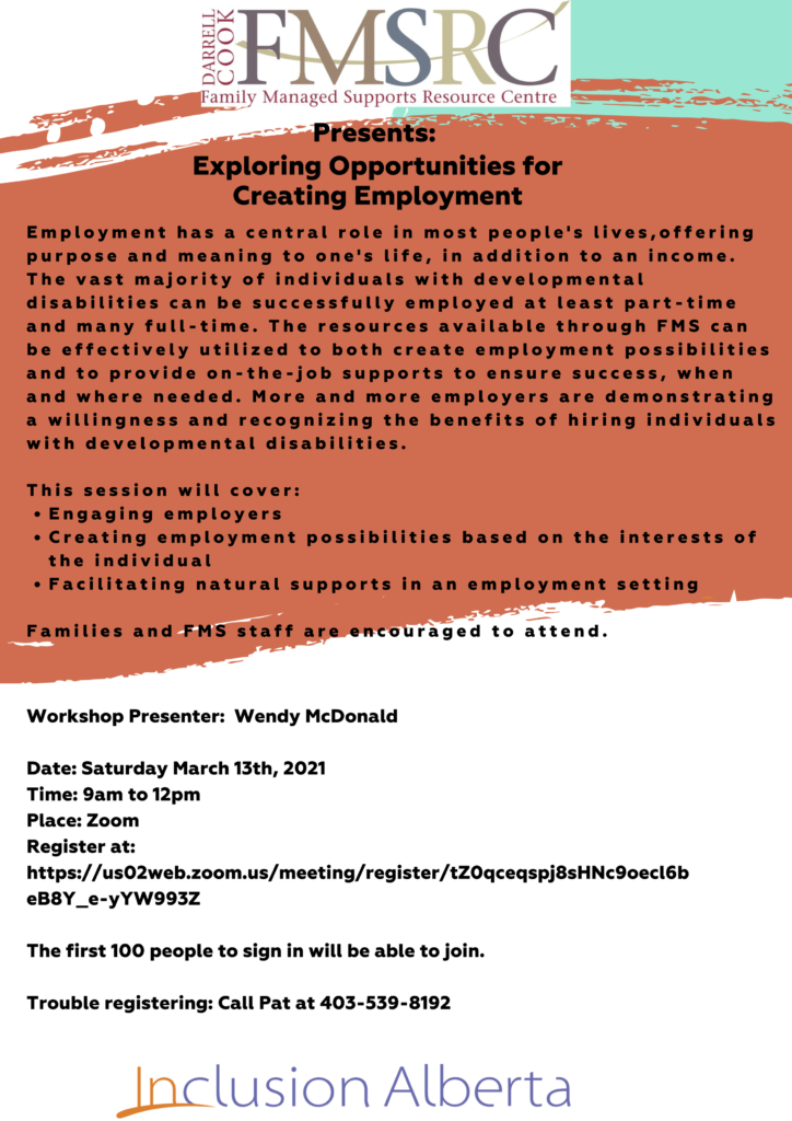 Poster for exploring opportunities for creating employment workshop event. Text reads the same as is on this page.