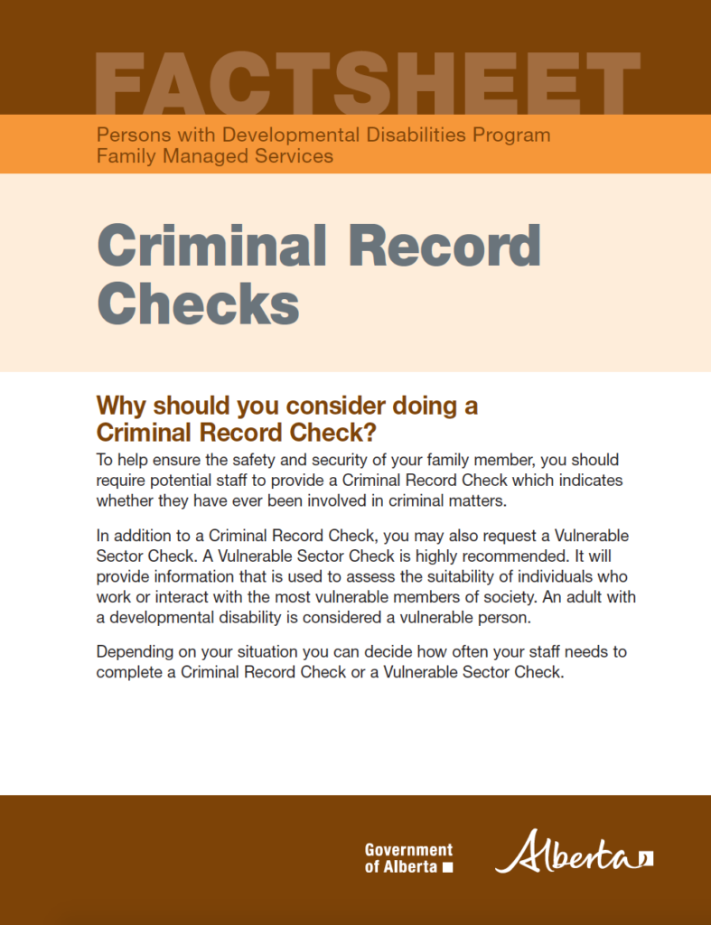cover page of 'criminal record checks'