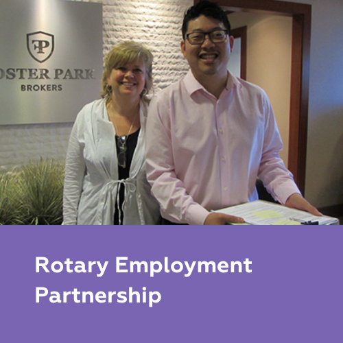 Employees pictured together with caption Rotary Employment Partnership