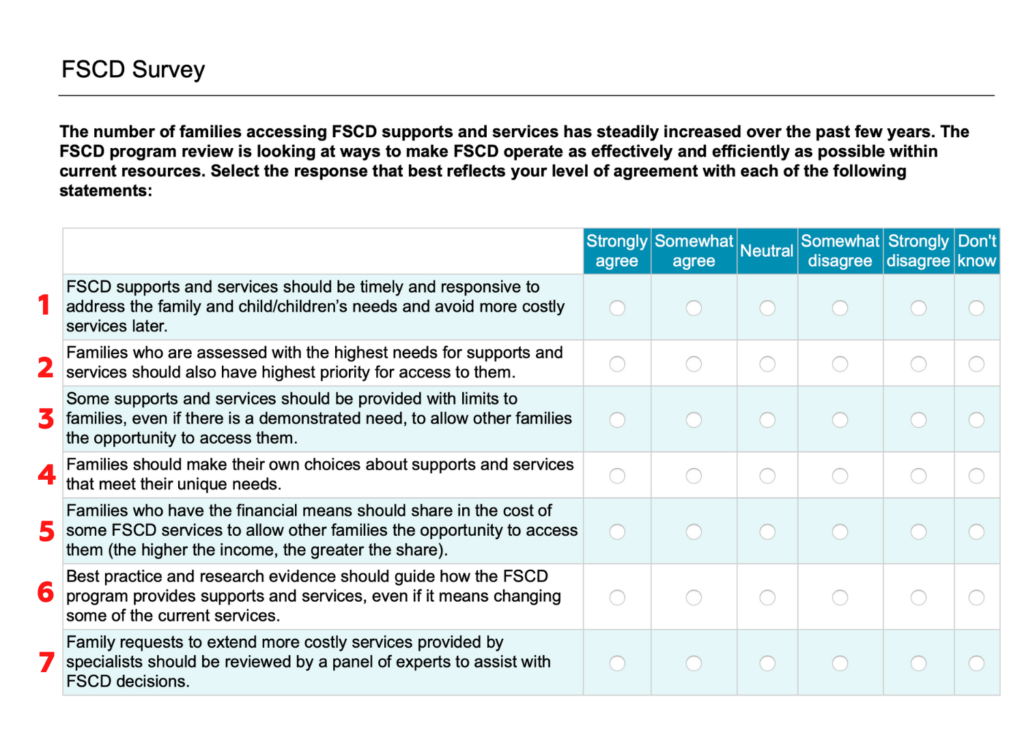 Screenshot of FSCD survey questions