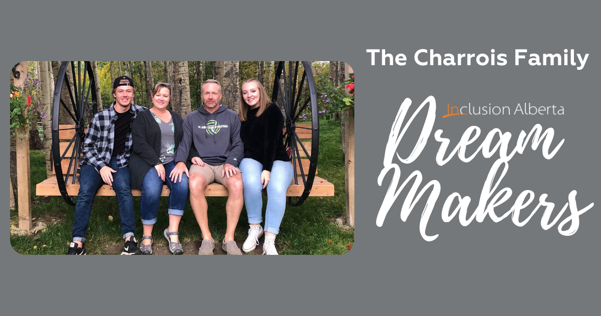 The Charrois Family, Inclusion Alberta Dream Makers. All 4 members of the family pose on a swinging bench together.