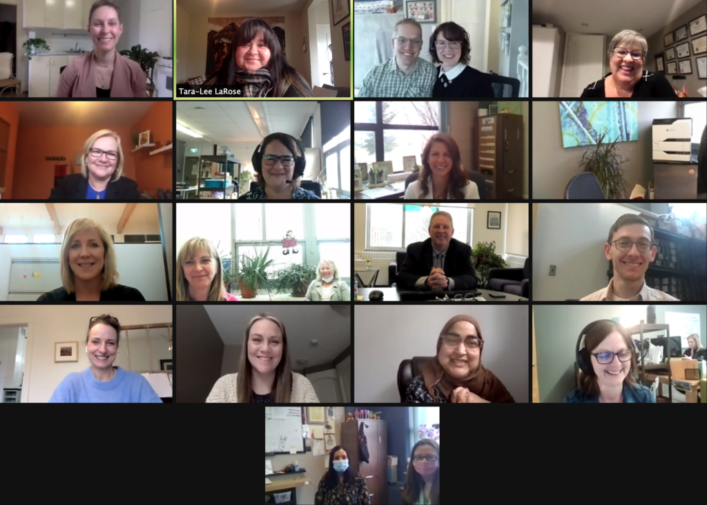Screen snap of 17 people in a zoom meeting as St. Mary School and ECDS receive their award