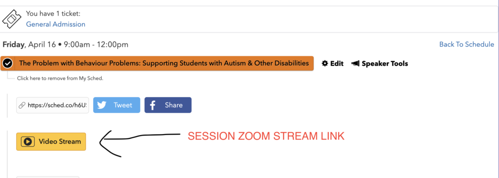 screen shot of the location of the zoom stream in the Sched online platform